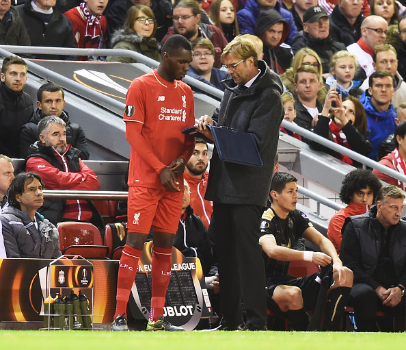 LIVERPOOL, ENGLAND - OCTOBER 22:  Christian Benteke of Liverpool receives instructions from Jurgen Klopp the manager of Liverpool as he prepares to come on as a second half substitute during the UEFA Europa League Group B match between Liverpool FC and Rubin Kazan at Anfield on October 22, 2015 in Liverpool, United Kingdom.  (Photo by Michael Regan/Getty Images)