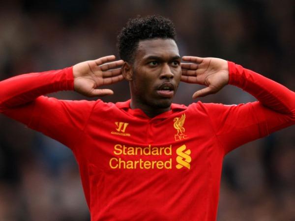 Liverpool's Daniel Sturridge celebrates scoring to tie the match 1-1